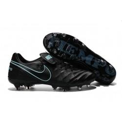 Hommes 2016 Nike Tiempo Legend VI FG Crampons Nike Noir Bleu