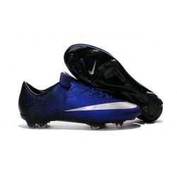 Nouvelle Chaussure de Football Nike Mercurial Vapor X FG Bleu Royal Argent Noir