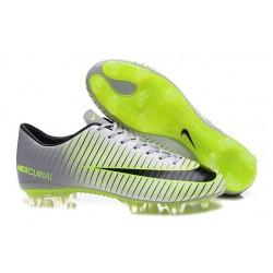 Chaussures Nike Football Hommes - Nike Mercurial Vapor 11 FG Argenté Noir Vert