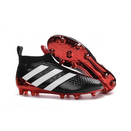 Adidas Ace16+ Purecontrol FG/AG Chaussures de Football Pour Homme Noir Rouge Blanc