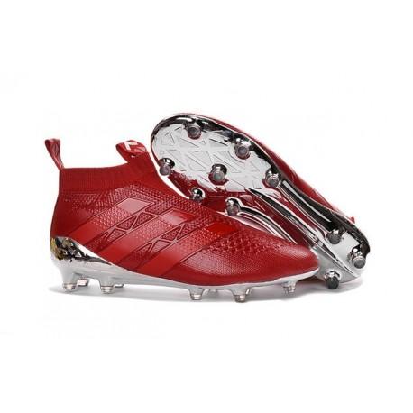 Adidas Ace16+ Purecontrol FG/AG Chaussures de Football Pour Homme Argenté Rouge