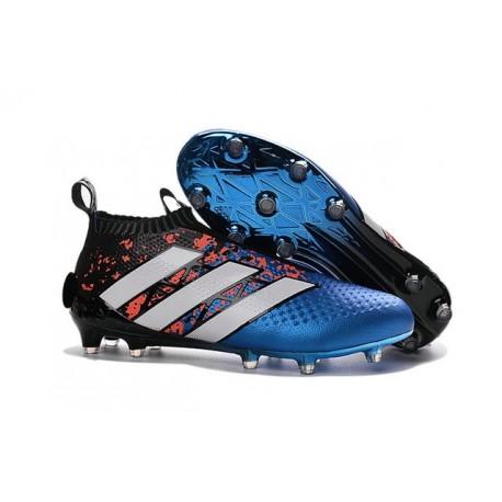Adidas Ace16+ Purecontrol FG/AG Chaussures de Football Pour Homme Paris Pack - Bleu Rouge Noir Blanc