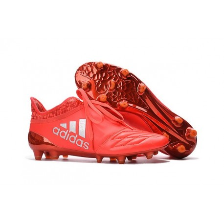 reputable site ed8a5 5657a Homme Cuir - Adidas X 16+ Purechaos FG AG Crampons Argent Rouge