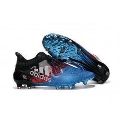 Homme - Adidas X 16+ Purechaos FG/AG Crampons Bleu Noir Rouge Blanc