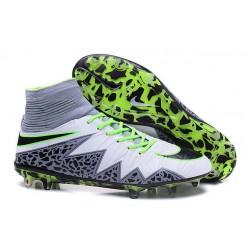 Nike HyperVenom Phantom 2 FG Chaussures de football Blanc Vert Gris Noir