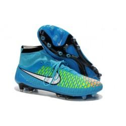 Nouveau Chaussures de Football Nike Magista Obra FG Bleu Vert Blanc