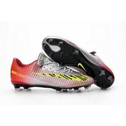 Chaussures Nike Football Hommes - Nike Mercurial Vapor 11 FG Argent Rouge Jaune