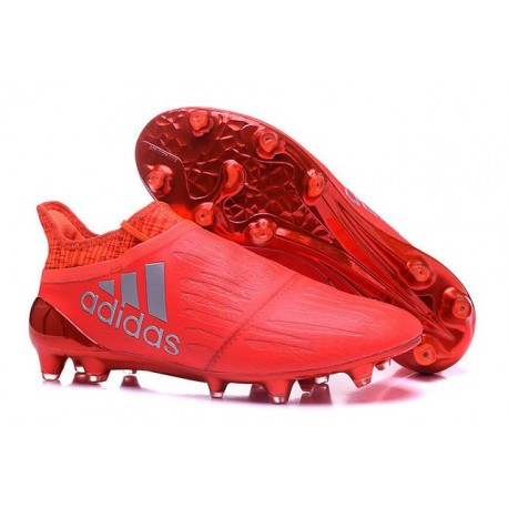 Homme Adidas X 16+ Purechaos FGAG Crampons Primeknit Argent Rouge