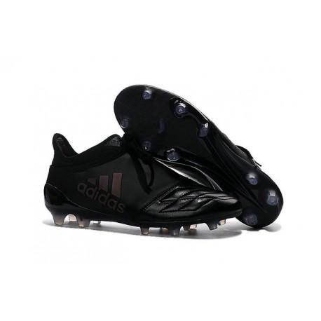 Homme - Adidas X 16+ Purechaos FG/AG Crampons Cuir Tout Noir