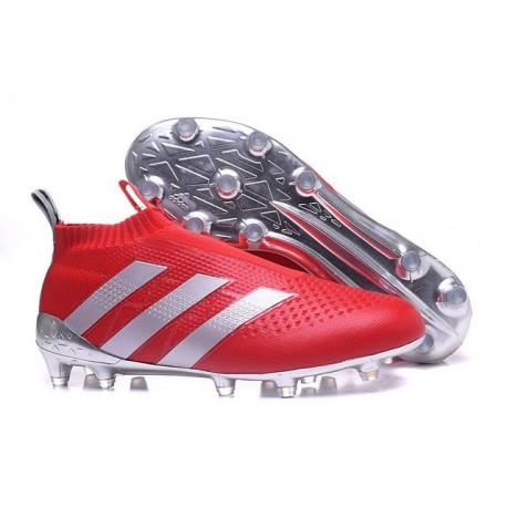 Adidas Ace16+ Purecontrol FG/AG Chaussures de Football Pour Homme Rouge Argenté