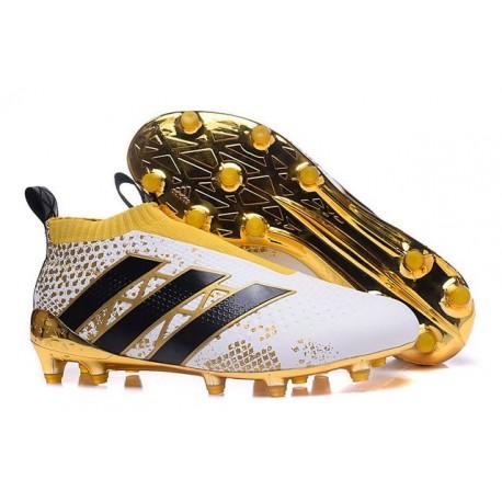 Adidas Ace16+ Purecontrol FGAG Chaussures de Football Pour Homme Stellar Pack Noir Blanc Or
