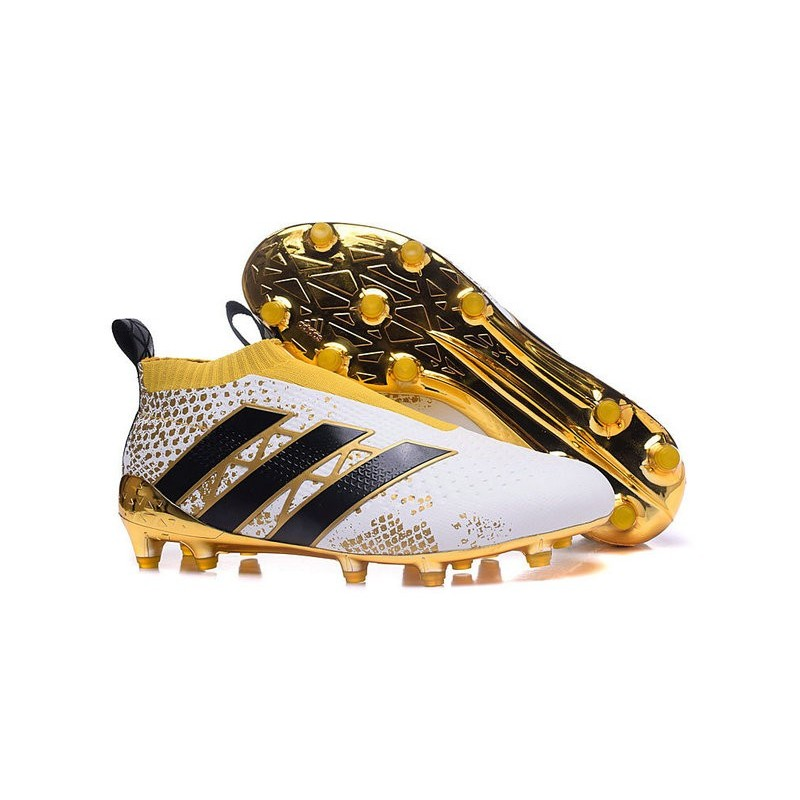 the latest 75232 deb64 Adidas Ace16+ Purecontrol FGAG Chaussures de Football Pour Homme Stellar  Pack Noir Blanc Or