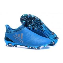 Homme - Adidas X 16+ Purechaos FG/AG Crampons Argenté Bleu