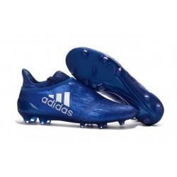 Homme - Adidas X 16+ Purechaos FG/AG Crampons Bleu Argenté