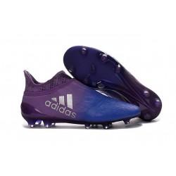 Homme - Adidas X 16+ Purechaos FG/AG Crampons Violet Bleu Argenté