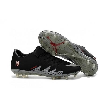 Nouveau Hommes Chaussures Nike Hypervenom Phinish FG Neymar x Jordan Noir Blanc Argenté