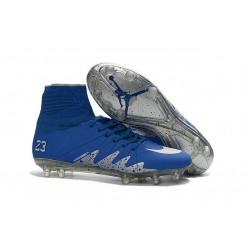 Nike HyperVenom Phantom II FG Football bottes pour hommes Neymar x Jordan Bleu Argenté