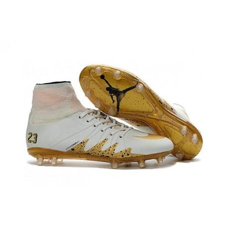 Nike HyperVenom Phantom 2 FG Chaussures de football Neymar x Jordan Blanc Or