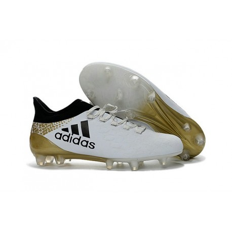 price reduced new appearance save off 2016 Chaussures de football Adidas X 16.1 AG/FG Blanc Noir Or