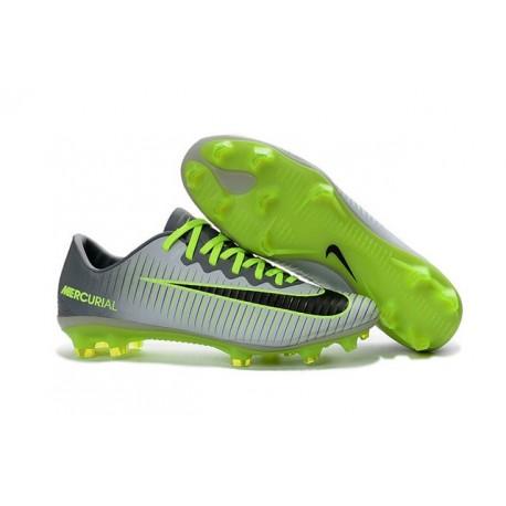 Nouvelles Chaussures Nike Mercurial Vapor 11 FG Platine Noir Vert