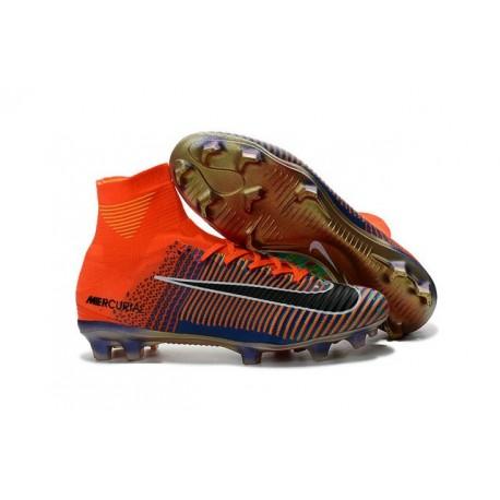 Chaussure Nike Mercurial Superfly 5 FG pour Hommes Nike Mercurial x EA Sports Orange Vert Bleu Noir