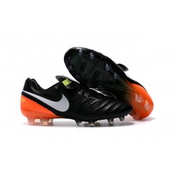 Nouveau Crampons de Football Nike Tiempo Legend VI FG Noir Blanc Hyper Orange Volt