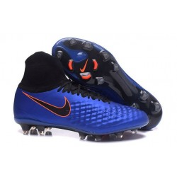 Nike Magista Obra II FG Chaussures de football Bleu Noir Orange