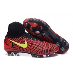 Nike Magista Obra II FG Chaussures de football Noir Rouge Jaune