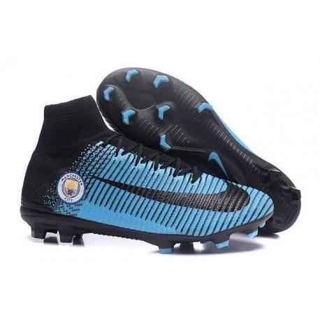 Chaussure Nike Mercurial Superfly 5 FG pour Hommes Manchester City FC Noir Bleu