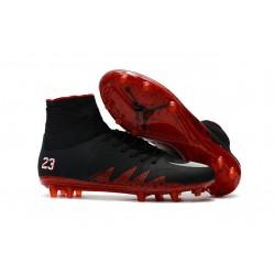 Nike HyperVenom Phantom 2 FG Chaussures de football Jordan Noir Rouge Blanc