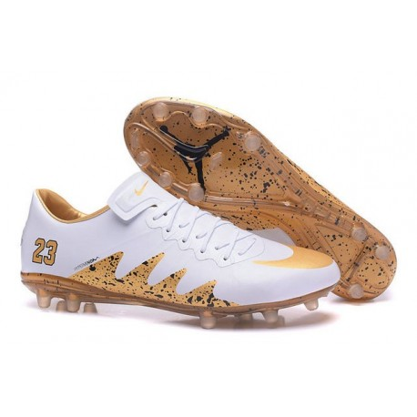 Nouveau Nike Hypervenom Phinish II FG Chaussure de Football Hommes Jordan Blanc Or