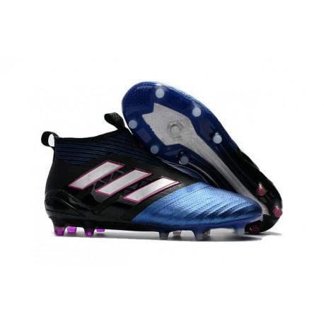 Nouvelles Chaussure adidas Ace 17+ Purecontrol FG Bleu Noir Blanc