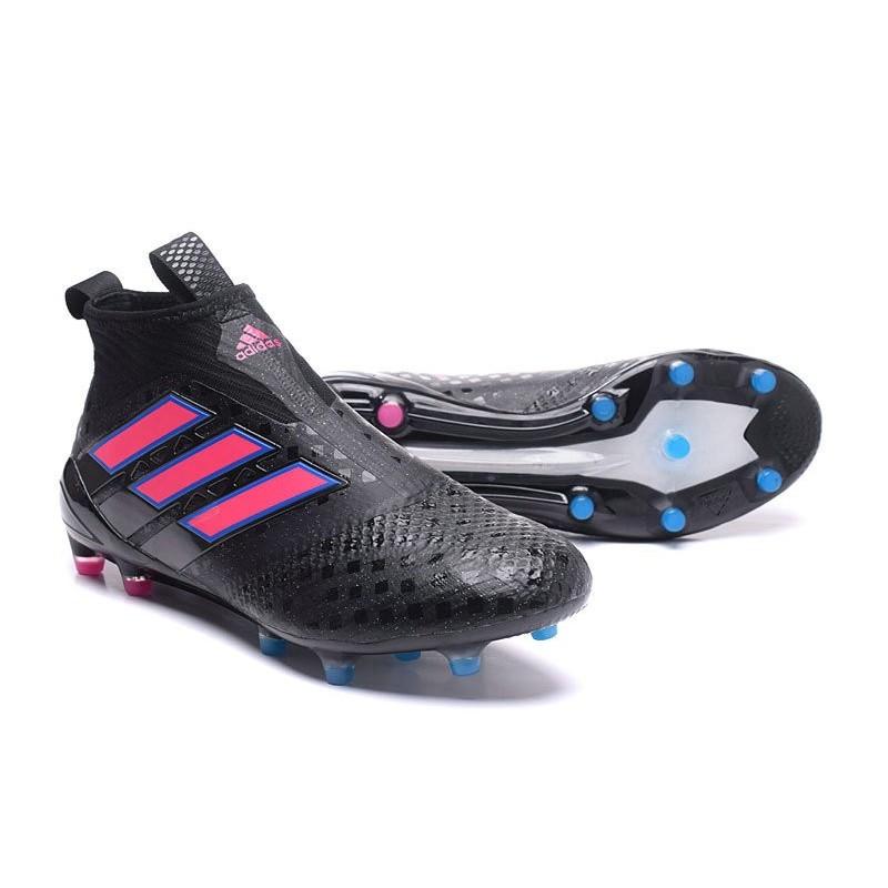 Chaussures de Football adidas sans lacets ACE 17+ PURECONTROL FG Noir Rose