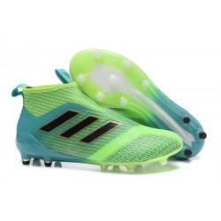 adidas Ace 17+ Purecontrol FG Crampons de Football - Vert Bleu
