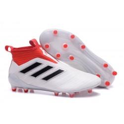 adidas Ace 17+ Purecontrol FG Crampons de Football - Blanc Rouge Noir
