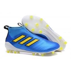 adidas Ace 17+ Purecontrol FG Crampons de Football - Bleu Jaune