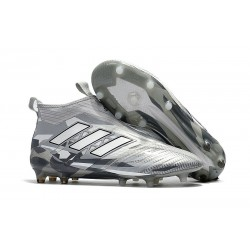adidas Ace 17+ Purecontrol FG Crampons de Football - Gris Blanc Noir