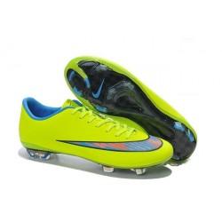 Nouvelle Chaussure de Football Nike Mercurial Vapor X FG Vert Bleu