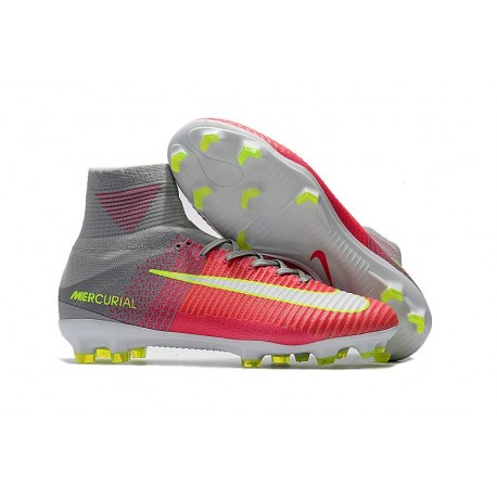 Nike Mercurial Superfly V FG ACC Chaussure de Football Rose Gris Jaune