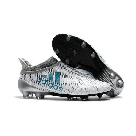 Crampons de Foot adidas X 17+ Purespeed FG Blanc Bleu Gris