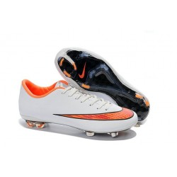 Chaussure de Football Hommes Nike Mercurial Vapor 10 FG Blanc Orange
