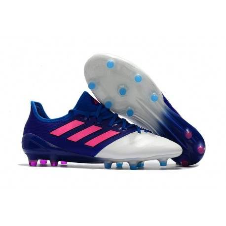 Chaussure Adidas - Crampons de Football Ace 17.1 FG Bleu Rose Blanc