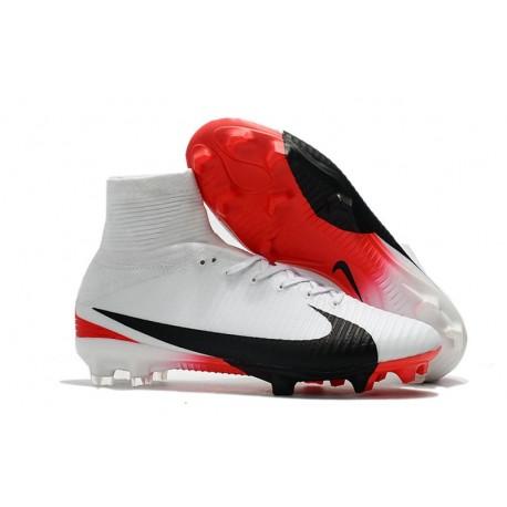Nike Mercurial Superfly V FG ACC Chaussure de Football Blanc Rouge Noir