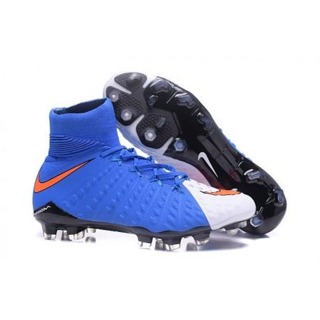Crampons de Football Nouveaux 2017 Nike Hypervenom Phantom III DF FG - Rouge Bleu Blanc