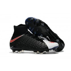 Crampons de Football Nouveaux 2017 Nike Hypervenom Phantom III DF FG - Noir Blanc Rouge