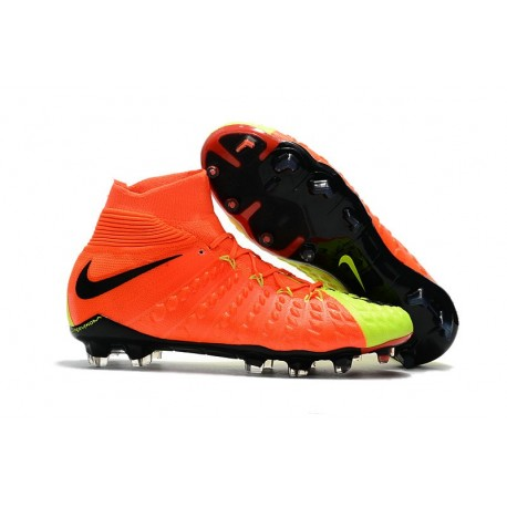Crampons de Football Nouveaux 2017 Nike Hypervenom Phantom III DF FG - Orange Volt Noir