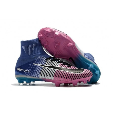 design intemporel 733a9 1b132 Nike Mercurial Superfly V FG ACC Chaussure de Football Bleu Rose Noir