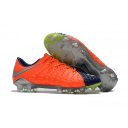 Chaussures de Football pour Hommes - Nike Hypervenom Phantom 3 FG Orange Bleu Argent