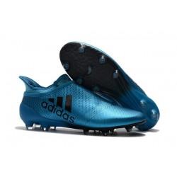 Crampons de Foot adidas X 17+ Purespeed FG Bleu Noir