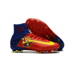 Nike Mercurial Superfly V FG ACC Chaussure de Football Barcelona FC Bleu Rouge Jaune
